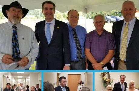 a collage of elected officials visiting CRHS including Governor Ralph Northam