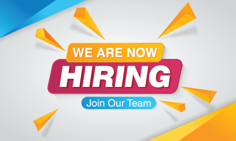 brightly colored graphic announcing that we are hiring