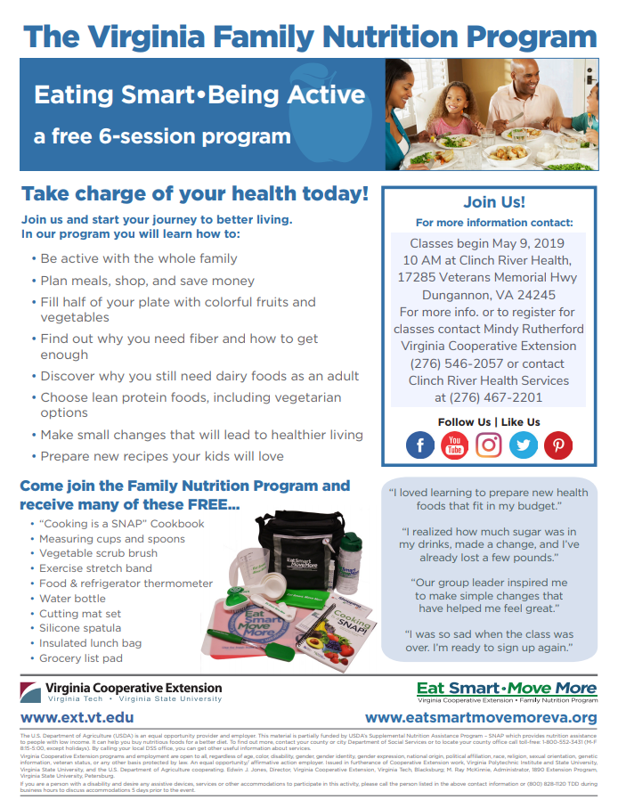 Eating Smart ~ Being Active - Clinch River Health Services