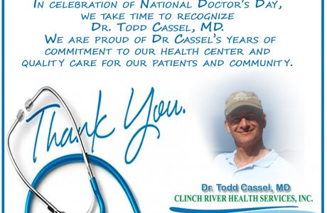 Dr. Todd Cassel, MD. Recognized on National Doctor's Day!